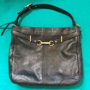 Coach Pebbled Leather Shoulder Bag w Harness Clip
